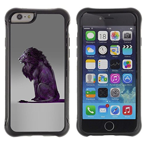 [ For APPLE IPHONE 6 PLUS / 6S PLUS (5.5 IN.) ][ ToughCase ][ Flexible TPU Kanten und harten PC Schutzhülle ] - Lion Purple Grey King Animal Nature - Fall Lion-iphone King 6