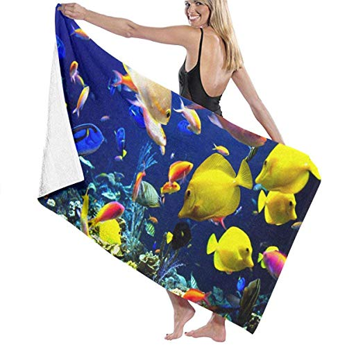 xcvgcxcvasda Serviette de bain, Underwater World Fish Personalized Custom Women Men Quick Dry Lightweight Beach & Bath Blanket Great for Beach Trips, Pool, Swimming and Camping 31