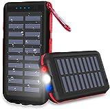 CXLiy Powerbank Solare Caricabatterie Solare Portatile 25000 mAh Grande capacità Resistente all'Acqua 3 Porte di Uscita Batteria Esterna Torcia a LED e Le luci SOS per Smartphone, Tablet e Altro