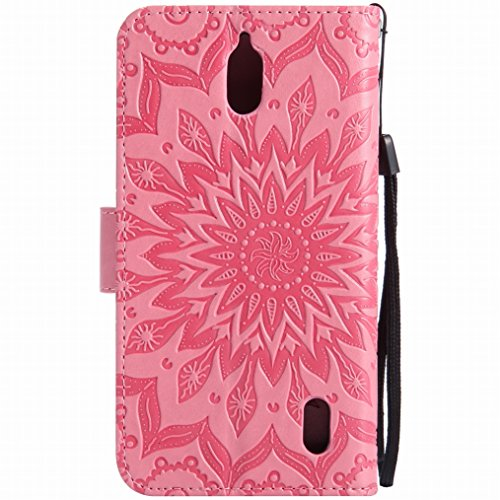 LEMORRY Huawei Y625 Custodia Pelle Cuoio Flip Portafoglio Borsa Sottile Bumper Protettivo Magnetico Morbido Silicone TPU Cover Custodia per Huawei Y625, Fiorire Nero Rosa