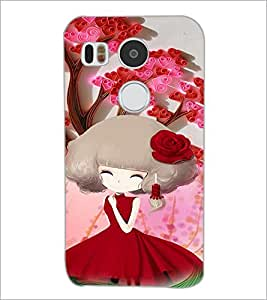 PrintDhaba Cute Girl D-4684 Back Case Cover for LG NEXUS 5X (Multi-Coloured)