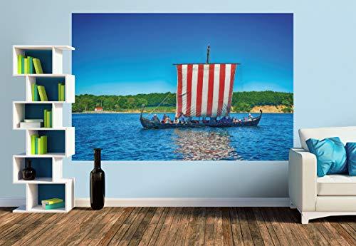 Premium Foto-Tapete Wikingerschiff vor Kragesand (versch. Größen) (Size M | 279 x 186 cm) Design-Tapete, Wand-Tapete, Wand-Dekoration, Photo-Tapete, Markenqualität von ERFURT