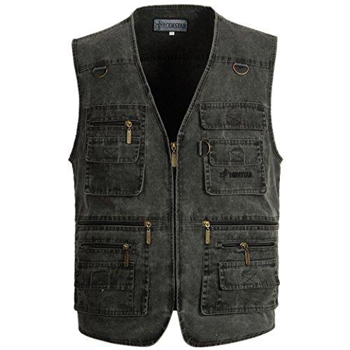 Aitalk Herren Weste Ärmellos Westen Zip Up Sport Outwear mit Reißverschluss Outdoor-Weste Baumwolle Jacke mit Vielen Praktischen Taschen Größe XXXL - Grau