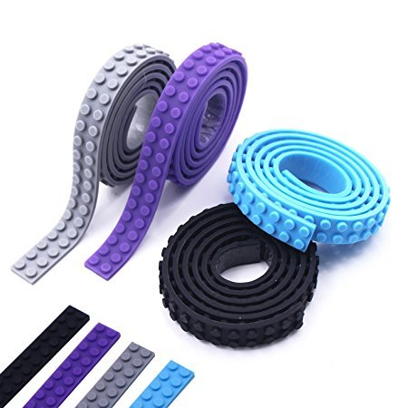 Baustein Band, JOMOQ Silikon Bauklötze Band Rolle Selbstklebende Spielzeug Band für Konstruktionsspielzeug (black,purple,blue.gray)