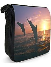 Dolphins In The Sunset Small Black Canvas Shoulder Bag / Handbag
