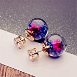 LnLyin Glass Ball Drill Dry Flower Earrings Crystal Ball Stud Earrings Bubble Earrings Earpins for Women,Deep Blue