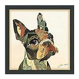 EMPIRE Art Direct Französische Bulldogge dreidimensionale Art Collage, grün