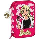 Barbie - Plumier doble, 34 piezas, color rosa (Safta 411610054)