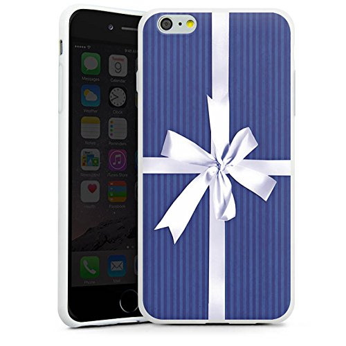 Apple iPhone X Silikon Hülle Case Schutzhülle Geschenk Schleife Blau Silikon Case weiß