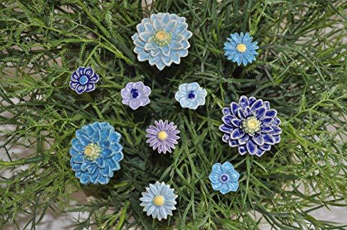 10 Keramikblumen: Gemischt/Blau