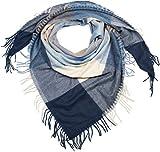 styleBREAKER écharpe carrée XXL, plaid avec motif à carreaux et longues franges, hiver, étole, foulard 01017116, couleur:Bleu Foncé-Bleu-Crème