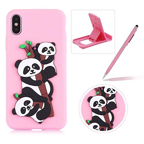 Coque iPhone X Silicone, Herzzer Mignon 3D Panda Motif Design Étui Housse de Protection pour iPhone X Soft Doux TPU Gel Backcover Ultra Mince Léger Flexible Téléphone Portable pour Apple iPhone X -- Rose