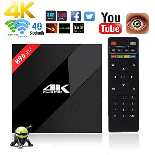 Aoxun Android 6.0 TV Box H96 Pro+ Plus Set-top box inteligente CPU Amlogic S912 Octa-core 64 bits 3 GB de RAM 32 GB de ROM con Wifi Inteligente Smart TV Box Bluetooth 4.1 y True 4K jugando