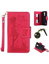 PU Coque LG K10 (5,3 Zoll) ,PU Cuir Portefeuille Etui Housse Case Cover portefeuille,carte de crédit Fentes pour (9 fente) ,idéal pour protéger votre téléphone + Bouchons de poussière (9VA)