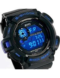 ALPS Multifonctionnel LED Digitale Montre Etanche Sport Homme (Bleu)