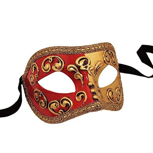 Unbespielt Venezianische Maske Colombina Mezza rot Handarbeit Karneval Fasching Venedig