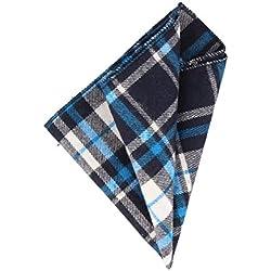 Andrews & Co. Pañuelo de tela escocesa Azul marino Azul Claro Blanco