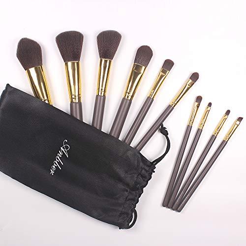 Pennelli Make up Anbber Set di 10 Pennelli Trucco con Custodia in Cuoio per Fondotinta Contorno Polvere Concealer, perfetto come Regalo