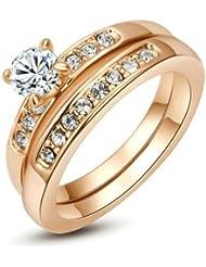 Yoursfs 18k Or plaqué Solitaires en Diamant de simulation de Bague de mariage en forme de Deux-en-un pour Femmes ou Hommes
