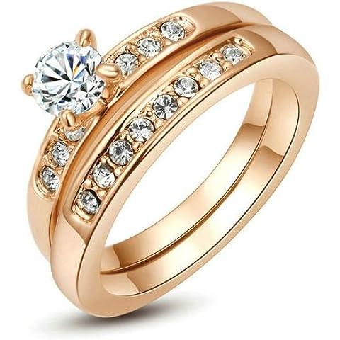 Yoursfs senza tempo Styling 2in1 3 millimetri Solitaire Anello 4.5mm diamanti simulati canale laterale Set nastro per regalo di natale