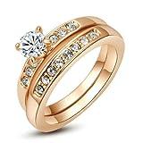 Yoursfs Style de permanence Solitaire de diamant simulé de Bague de mariage de forme de Deux-en-un pour la fête...