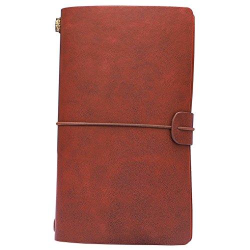Vintage PU Leder Notizbuch,ISIYINER Echtleder handgefertigt Travel Fashion Tagebuch,Notizbuch nachfüllbar mit Gummiband Binden,Personalisierte Geschenke für Männer Frauen Mädchen Teens(Braun)