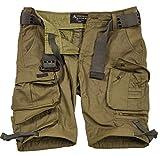 A. Salvarini Herren Designer Cargo Shorts Cargoshorts Kurze Hose Gürtel AS079 [AS-079-Olive-W30]