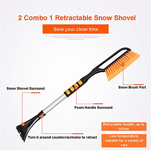 Winter-Car-Shoveling-Snow-Supplies-Snow-Shovel-Attrezzi-per-La-Rimozione-del-Ghiaccio-Pala-da-Neve-Retraibile-per-NeveOrange