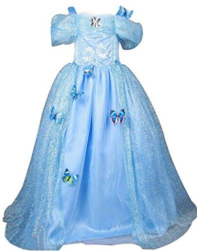 GenialES Costume Vestito Blu da Ragazze Principessa con Farfalla Spille per Partito Cosplay Halloween Carnevale Compleanno Taglia 140 7-8anni
