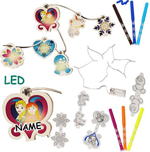 alles-meine.de GmbH Malset / Bastelset - Lichterkette LED -  Disney die Eiskönigin - Frozen  - incl. Name - 6 Stifte - Malen & Gestalten - völlig unverfroren Prinzessin ()