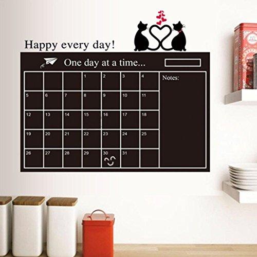 Wandkalender 2018,Hunpta 95 * 60 cm selbstklebende Tafel Kreide Bord Papier Wand Aufkleber Bord (Schwarz)
