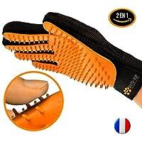One PETS-TOP [Version Améliorée] Gant Brosse Toilettage Chien | Chat | Lapin | 2 Fonctions: Brossage & Brosse Ramasse Poils Textile