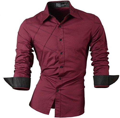 jeansian Herren Freizeit Hemden Shirt Tops Mode Langarmshirts Slim Fit MFN_2028 WineRed XL [Apparel]