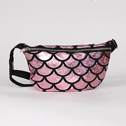 Nibesser Gürteltasche Glitzer Bauchtasche Geldbeutel Hüfttasche mit Reissverschluss für Frauen Mädchen (Silber) Rosa