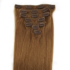 Extensions de cheveux humains à clip 100% Remy Hair 12# Couleur Noisette Longueur 46 cm Poids 70 grams