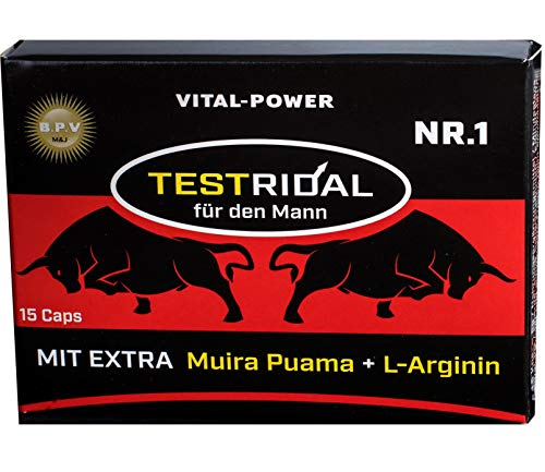 B.P.V - Bestseller Testridal 15 Kapseln = 8g - Potenzmittel - Testo Booster - Hochdosiertes Kombi-Produkt perfekt geeignet für Sportler und Aktive Männer - Für Lust - Liebe - Leidenschaft und mehr