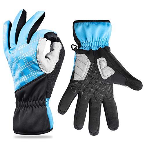 WESTGIRL Fahrradhandschuhe, Radsport Wasserdicht Touchscreen Handschuhe für Männer Frauen, Gel Nicht Rutschfeste Shockproof Pad für Fahren Snowboarden Skifahren Motorrad