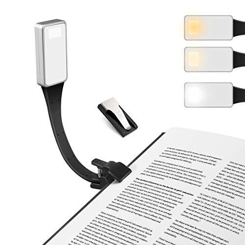 LED Leselampe,E-More Buchlampe Klemmleuchte mit 3-Farbtemperatur, Zwei Clip Stufenlos Helligkeit Leselicht Magnetische clip 360° Flexibel Schwanenhals USB klemmlampe für Kindle,Buch, Ipad, EBook
