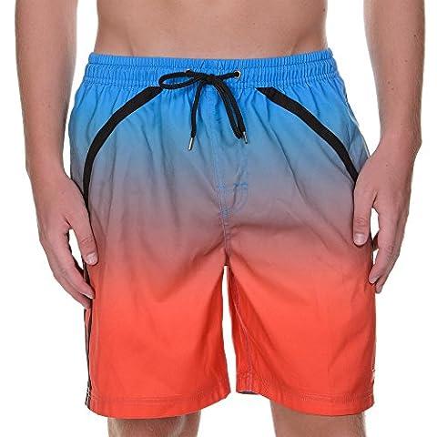 Bruno Banani Herren Badeshorts Bermuda Shaper Mehrfarbig (Blau / Orange 216), Large (Herstellergröße:6/L)