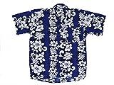 Ontop-Fashion Hawaiihemd Hawai Freizeit Hemd Viskose blau Blumenreihen weiß S-8XL, Größe:3XL