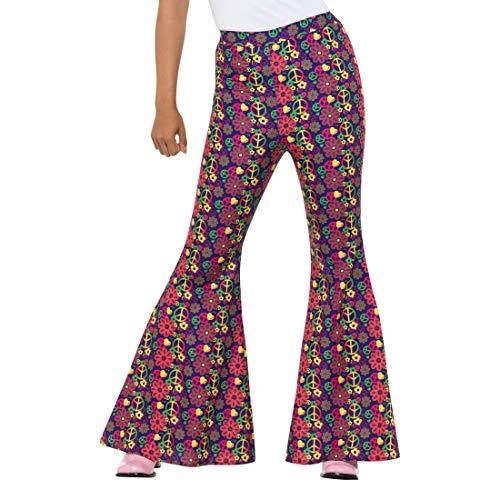 NET TOYS Hippie-Schlaghose für Damen | Größe M (38/40) | Ausgefallene Frauen-Hose mit Schlag Flower Power | EIN Highlight für 70er-Party & Schlagermove