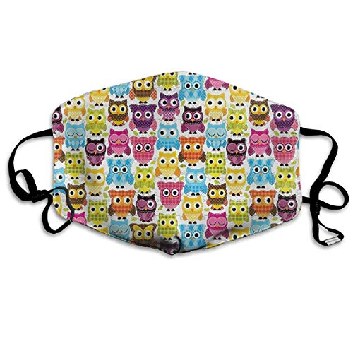 Masken, Masken für Erwachsene, Mouth Mask, Owls with Different Expressions Breathe Healthy Face Mask.Comfortable, Filters Dust, Pollen, Allergens, Flu Germs with Antimicrobial Germ Killing (Bush-maske)