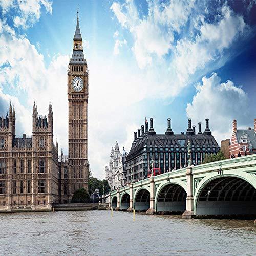 ZDBWJJ Benutzerdefinierte 3D Fototapete Britische Landschaft Glockenturm Kirche Wohnzimmer Sofa TV Hintergrund Wanddekorationen Bett Zimmer Wandbild Tapete-B (Britischen Tv)