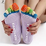 GOOSEBERRY Women Cotton Sock Antislip Fitness Colorful Sports Toe Socks