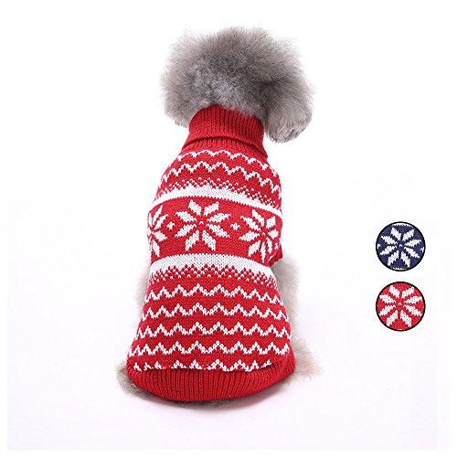 2 Muster Schneeflocke Gestrickte Hundepullover, Urlaub Strickwaren Oberbekleidung Hundebekleidung mit Fair Isle für kleine Hunde und Katzen von HongYH -