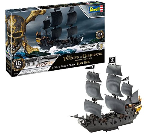 Revell- Maqueta Black Pearl Pirate Des Caraïbes-La Vengeance de Salazar, Easy Click System, Kit Modello, Escala 1:150 (5499) (05499), Color Negro, 26,0 cm de Largo (