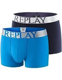 REPLAY Pantalones cortos para hombres de 2 paquetes, algodón elástico, liso, logotipo de