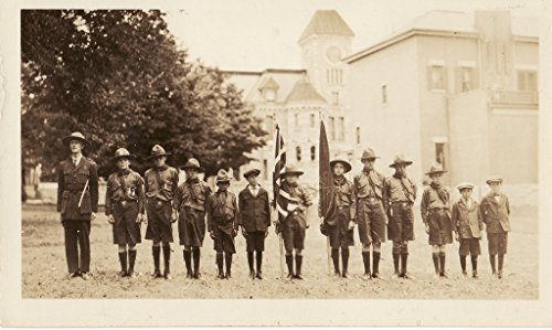 poster-scout-troupe-leader-lined-up-park-centre-deseronto-ontario-behind-them-town-hall-time-bank-mo
