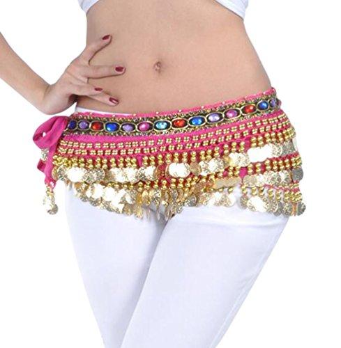 YuanDian Mujer coloreados diamantes Monedas Danza Del Vientre Espectáculo Bufanda Cinturon Cintura Cadena Falda trajes De Belly Dance Rose