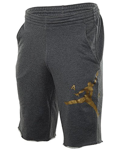 Nike Mens Air Jordan City Knit Graphic Shorts Charcoal Heather/Metallic Gold 835159-071 Size X-Large (Metallic Kleid Knit)